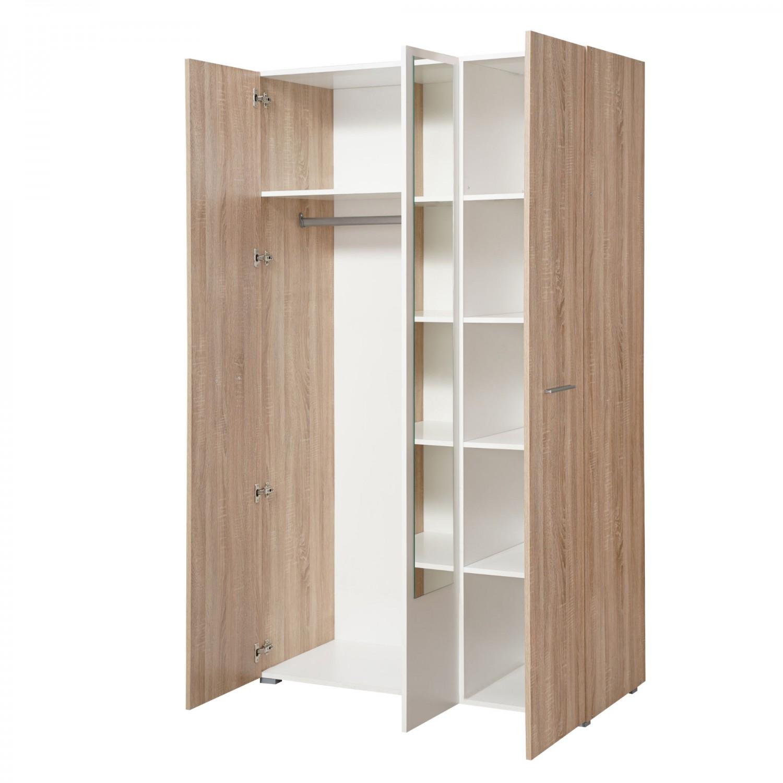 Dulap dormitor Ritmo 3K1O, stejar sonoma + alb, 3 usi, cu oglinda, 114.5 x 51.5 x 200 cm, 3C