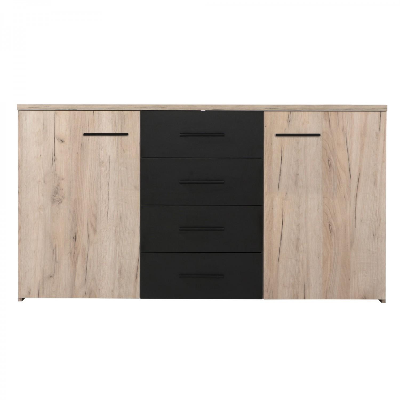 Dormitor complet Poluks, stejar gri + negru, 5 piese, 16C