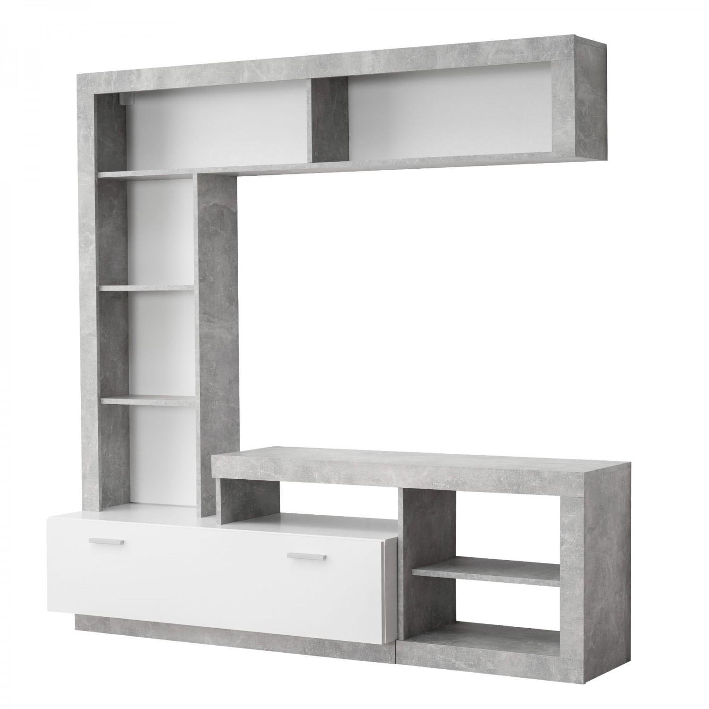 Biblioteca living Glen, beton + alb, 170.5 cm, 2C