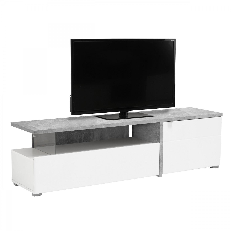 Comoda TV Fortuna, alb + beton + alb lucios, 160.5 x 40 x 44.5 cm, 1C