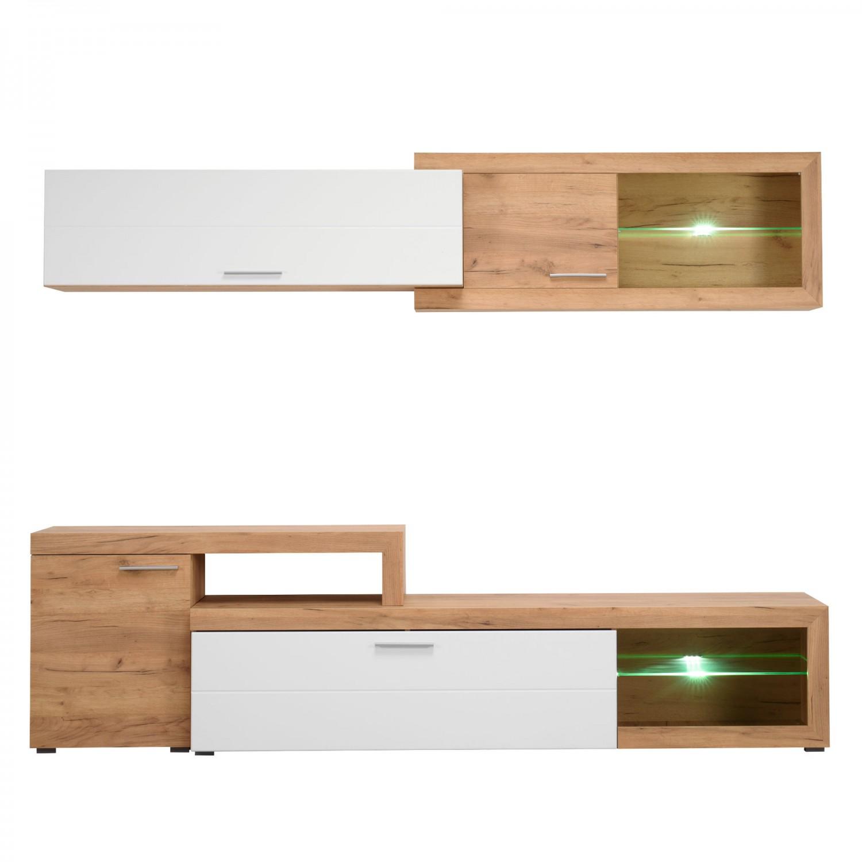 Biblioteca living Kanas, cu lumini, stejar auriu + alb lucios, 248.5 cm, 4C