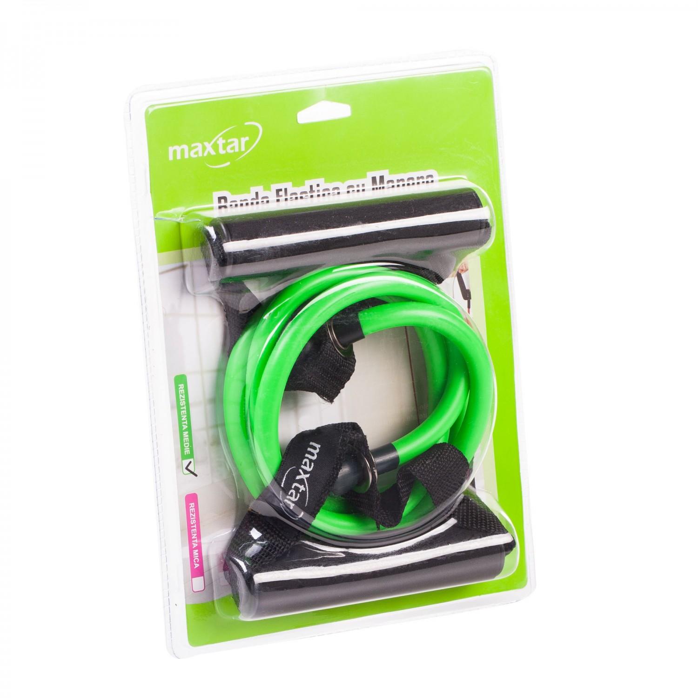 Banda elastica pentru fitness Maxtar, cu manere, rezistenta medie 5.5 kg, 1.2 m