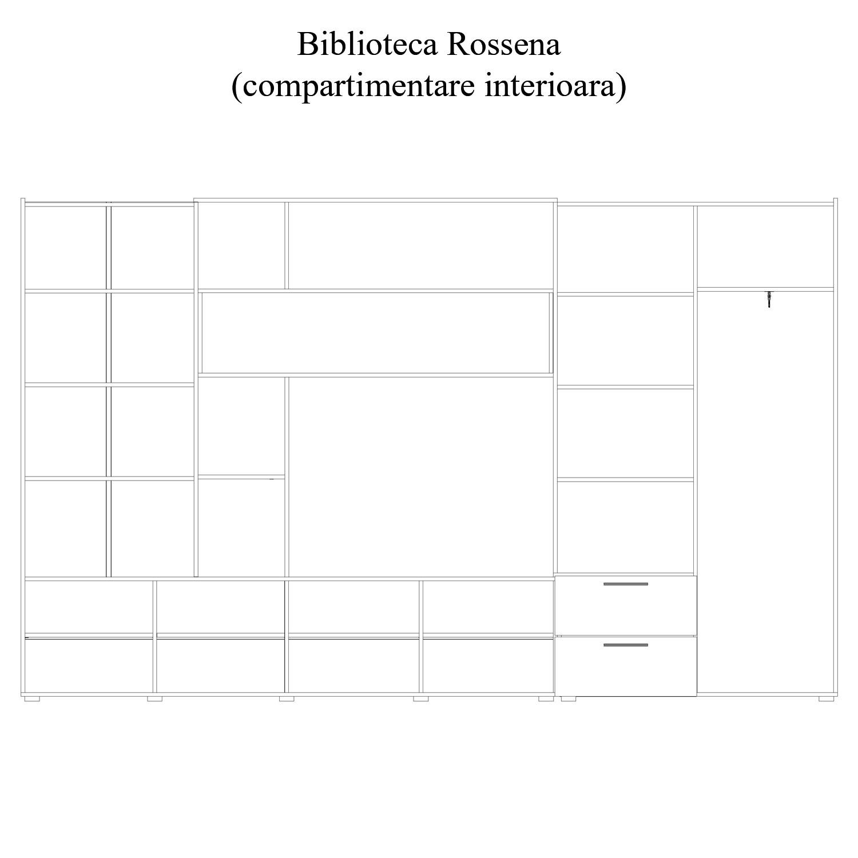 Biblioteca living Rossena, stejar bardolino + negru + rosu, 335 cm, 7C