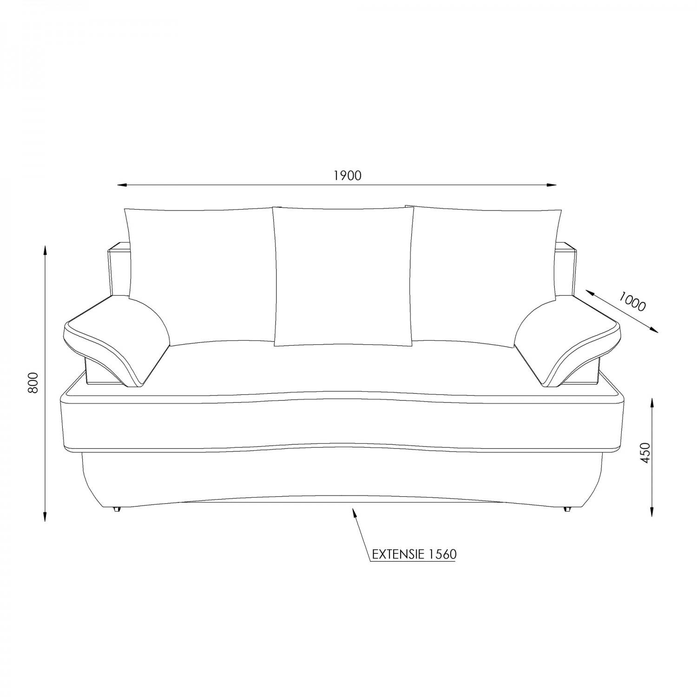 Canapea extensibila 3 locuri Alex, cu lada, crem, 190 x 95 x 80 cm, 2C
