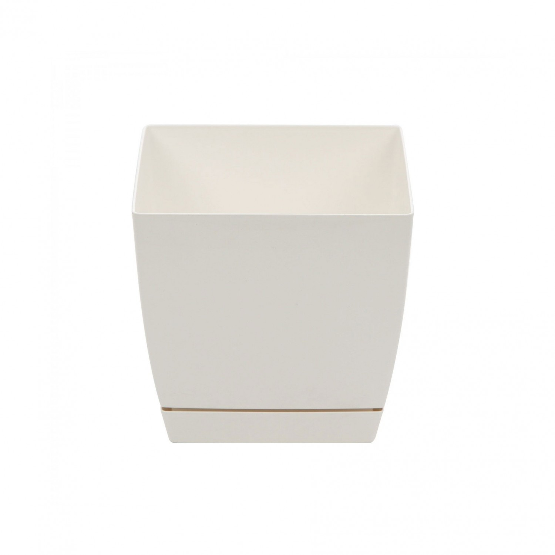 Ghiveci din plastic Coubi, patrat, alb 15.5 x 15.5 x 14.2 cm