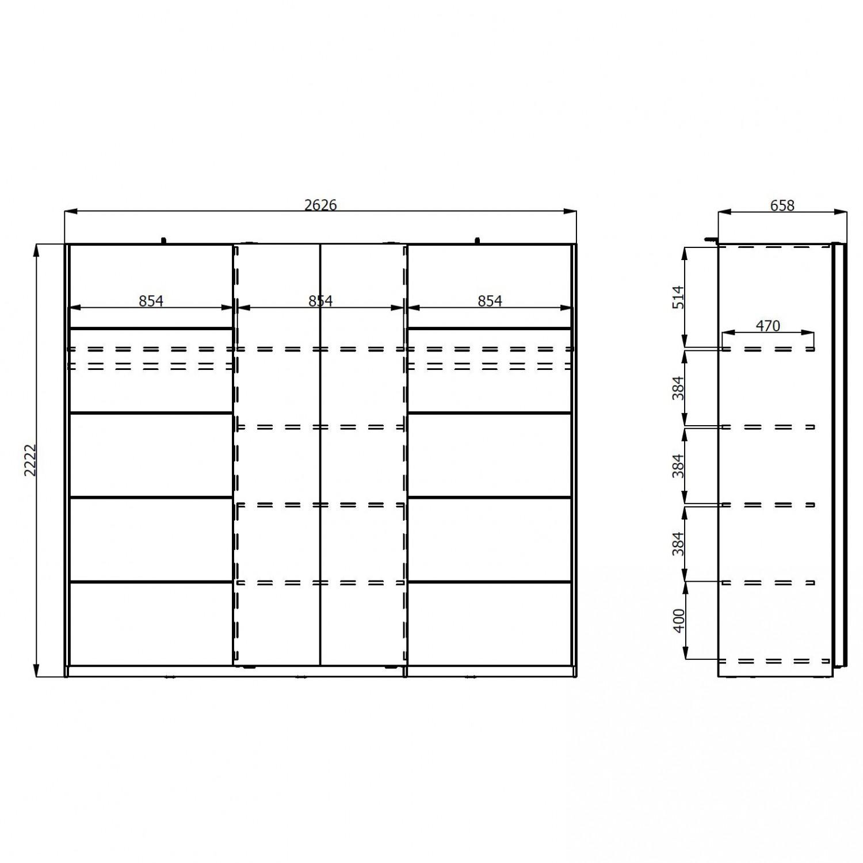 Dulap dormitor Castor, stejar gri + alb, 2 usi, 262.5 x 66 x 222 cm, 8C