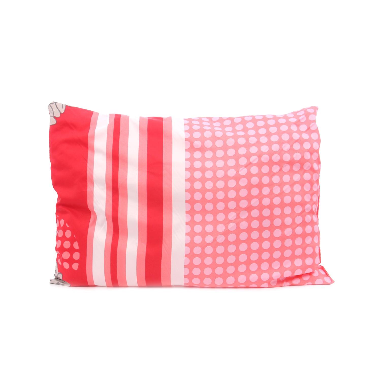 Perna pentru dormit Meltem puf siliconic + microfibra rosu cu alb 70 x 50 cm