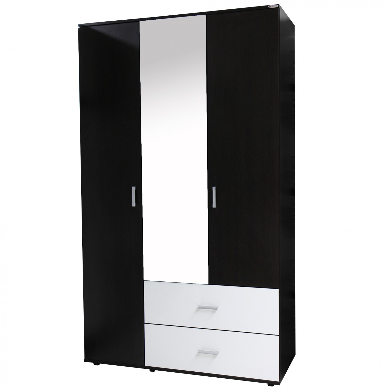 Dulap dormitor Raul, magia + alb, 3 usi, cu oglinda, 120 x 52 x 206 cm, 3C