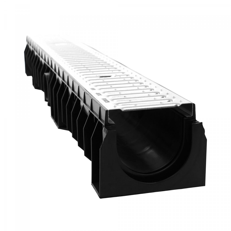 Rigola Skip PE-HD cu gratar otel zincat, A15, 1000 x 158 x 120 mm