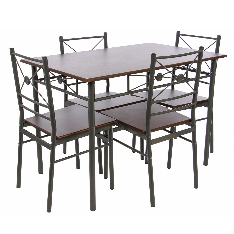 Set masa fixa cu 4 scaune Davidson, bucatarie, nuc, 1C