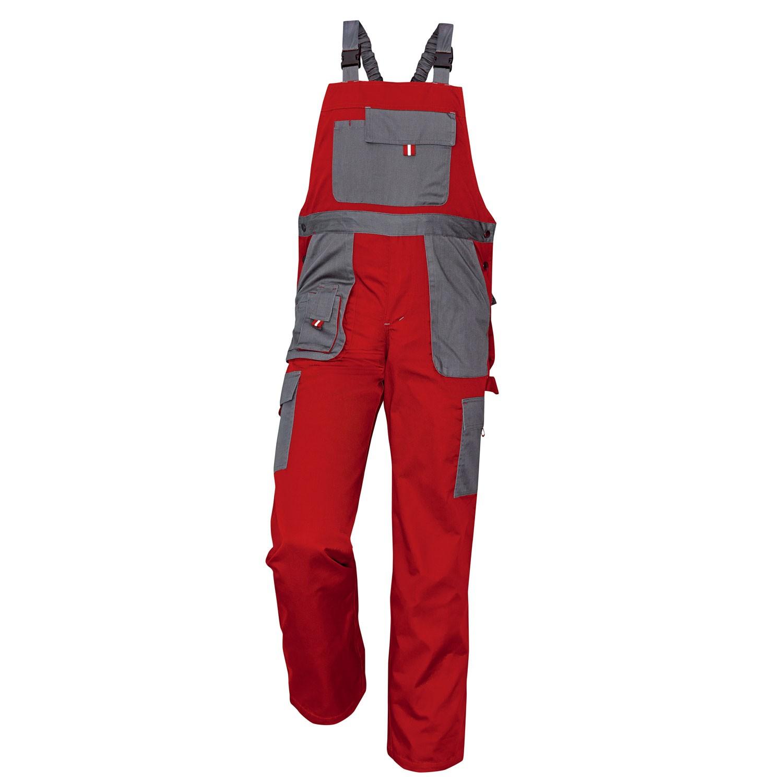 Pantaloni salopeta pentru protectie Asimo, bumbac + poliester, rosu, marimea 48
