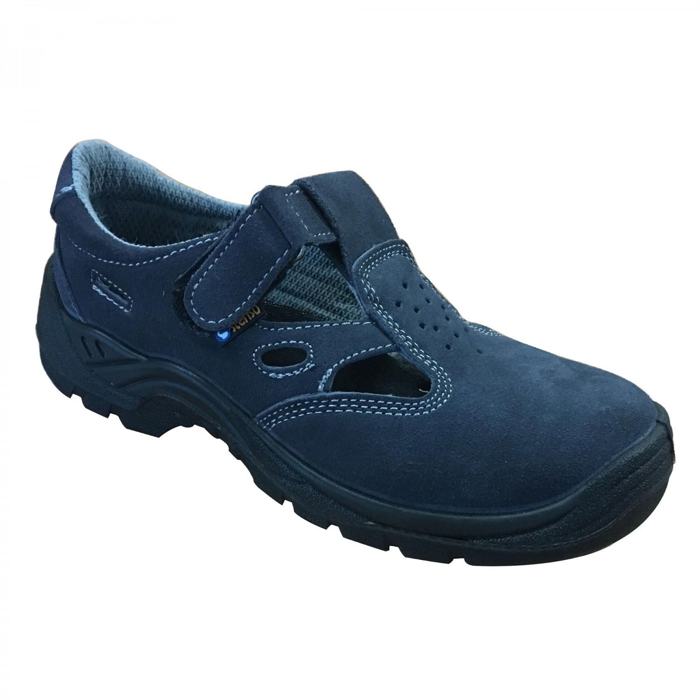 Sandale de protectie cu bombeu metalic Stenso Touareg S1, piele velur, albastre, marimea 42