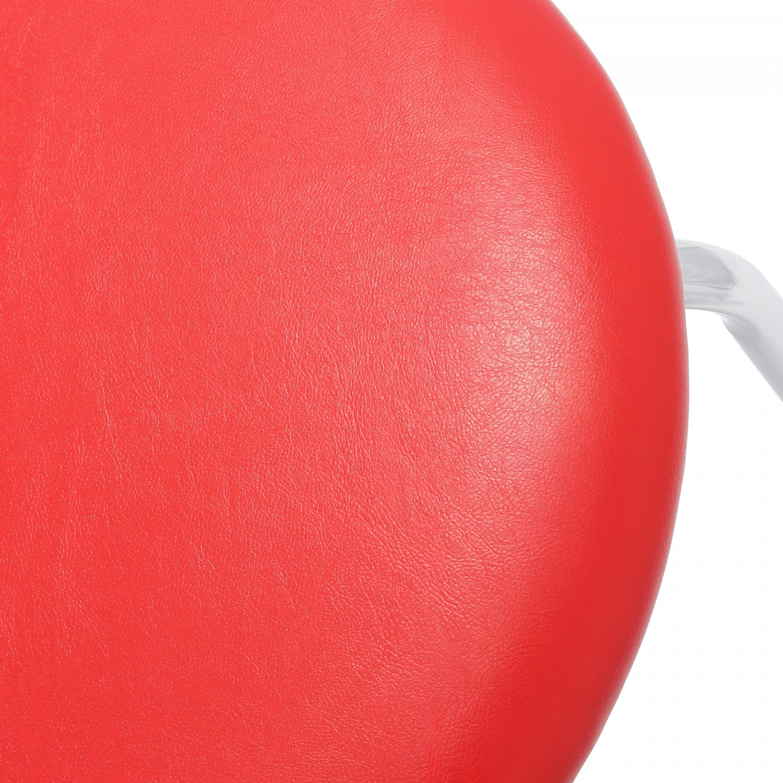 Taburet Sofia cadru cromat sezut tapitat imitatie de piele rosie 2C