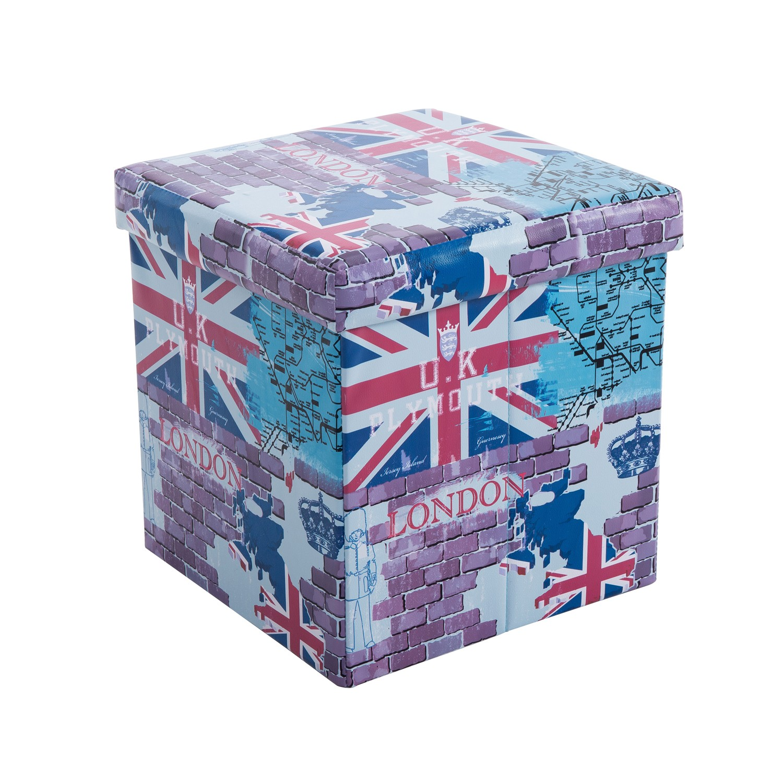 Taburet pliabil London 1 din PVC multicolor