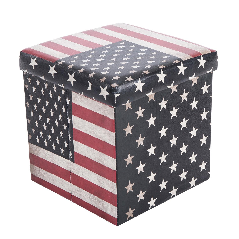 Taburet pliabil USA din PVC multicolor