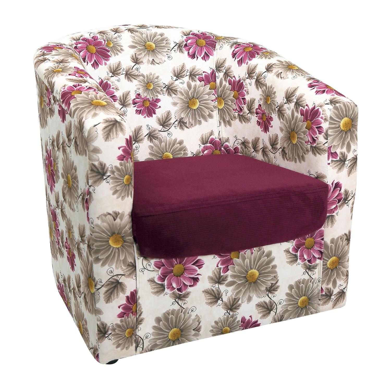 Fotoliu fix Tudor, stofa, mov + model floral, 1C