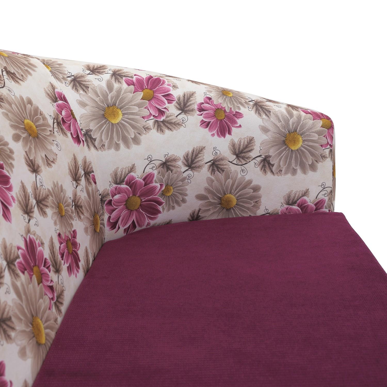 Fotoliu fix 2 locuri Tudor, stofa, mov + model floral, 1C