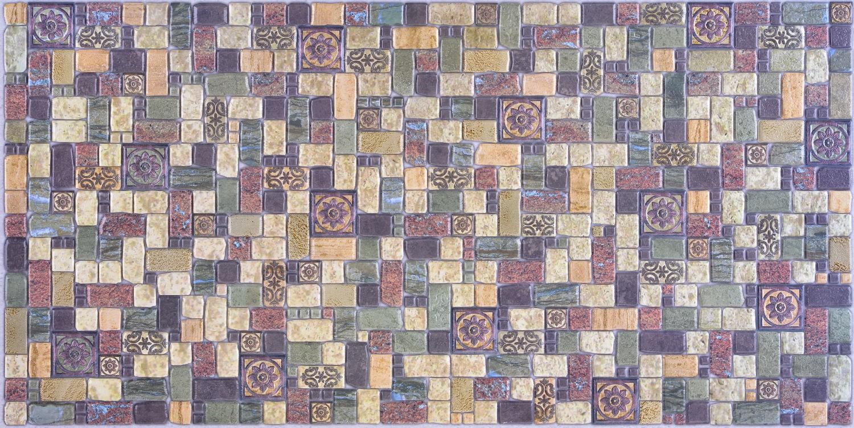 Panou decorativ Mosaic Tavertine Sprikling, PVC, multicolor, 93.5 x 47 cm, 0.4 mm