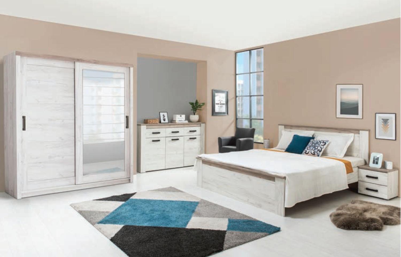 Dulap dormitor Kent 225, stejar alb + stejar gri, 2 usi glisante, cu oglinda, 223 x 67 x 226.5 cm, 6C