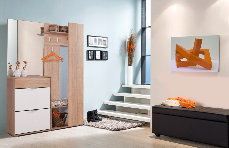Cuier hol Skala cu 4 agatatori, oglinda, pantofar si rafturi, stejar sonoma + alb, 1345 x 330 x 1915 mm, 3C