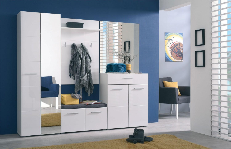 Comoda hol pentru cuier Beny KOM, cu 2 usi, alb + alb lucios, 79 x 35 x 40 cm, 2C
