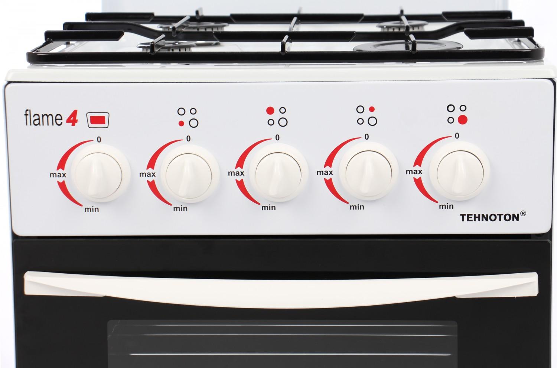 Aragaz pe gaz Tehnoton Flame 4, 4 arzatoare, latime 46.5 cm, dispozitiv siguranta cuptor, alb