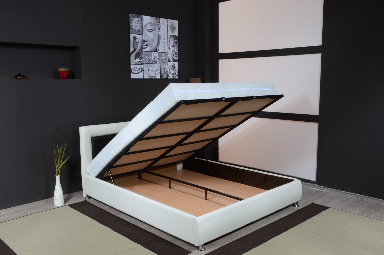 Pat dormitor Eros dublu, tapitat, cu lada, crem 160 x 200 cm 3C