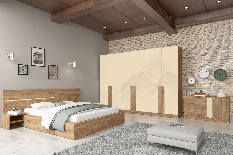 Pat dormitor Horatiu, matrimonial, cu 2 noptiere, stejar A458, 160 x 200 cm, 5C