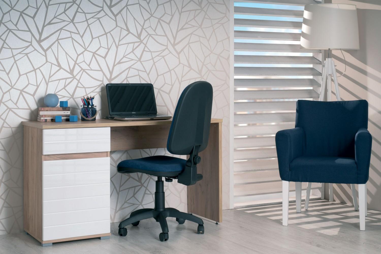 Birou calculator Elan, stejar gri + alb lucios, 130 x 75.5 x 50 cm, 1C