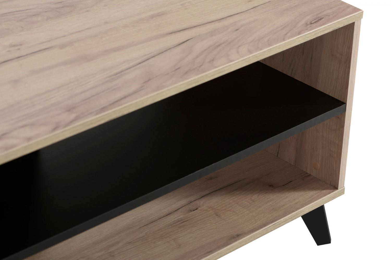 Masuta living Umbria KS, dreptunghiulara, stejar gri + negru, 101.5 x 50 x 47 cm, 1C