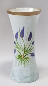 Vaza sticla decorativa, Lavanda VR 20/171, alb, pictata manual, 20 x 9 cm