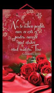 Tablou mic cu mesaj Valentine s  Day, ES9912, dreptunghiular, 25 x 14 cm