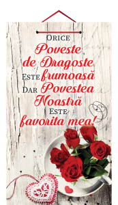 Tablou mic cu mesaj Valentine s  Day, ES9916, dreptunghiular, 25 x 14 cm