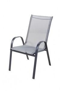 Scaun pentru gradina, 335.055, metal + textilen, gri
