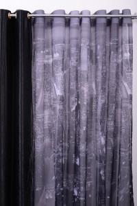 Perdea P5262, imprimata, poliester, negru, latime 280 cm
