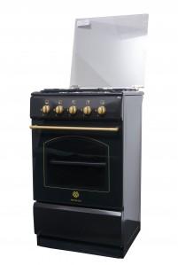 Aragaz pe gaz Metalica F4 1685 S1 negru auriu, design vintage, 4 arzatoare, latime 50 cm, izolatie cuptor