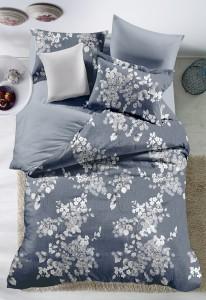 Lenjerie de pat, 2 persoane, Carrol 02, poliester 100%, 4 piese, gri + alb