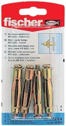 Diblu metalic, pentru cavitati, cu surub, HM 6 X 52 mm, 4 bucati