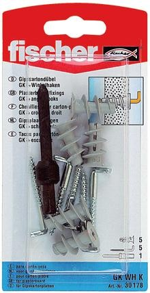 Diblu pentru gips carton, din nylon, cu surub cu carlig in vinclu, Fischer GKW, 22 mm, 5 bucati
