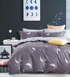 Lenjerie de pat, 2 persoane, Broaden 06, bumbac 100%, 4 piese, gri + alb