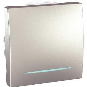 Intrerupator cap scara simplu cu indicator luminos Schneider Electric Unica MGU3.203.30N, incastrat, modular - 2, aluminiu