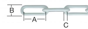 Lant din plastic, pentru bariera, alb, 6 mm