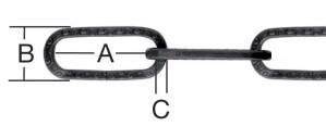 Lant cu za patrata, din otel, negru, 3 mm