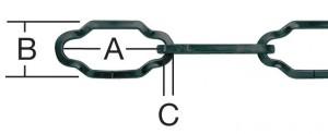 Lant din sarma rectangulara, negru, 2.2 mm