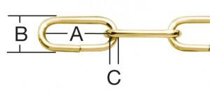 Lant cu za ovala, auriu, 2 mm