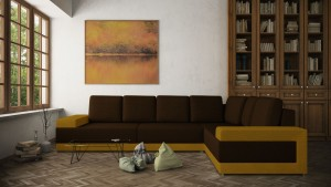 Coltar living fix pe stanga Medina, maro + galben, 332 x 233 x 74 cm, 2C