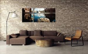 Tablou canvas 3 piese, PT1528, panza + sasiu brad, stil orase si arhitectura, 45 x 60 cm