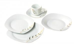 Set farfurii EX8495A, portelan, alb + model floral, 30 piese