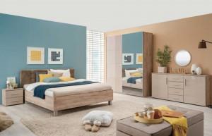 Dormitor complet Canon, stejar gri + folie lucioasa nisip, 5 piese, 14C