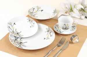 Set farfurii GXC1432, portelan, alb + model floral, 30 piese